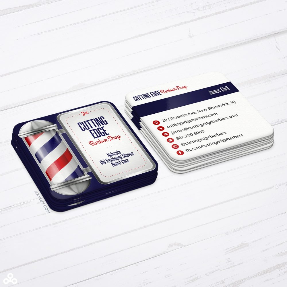 Barbershop Business Cards - Barber Pole Design - Square Die-Cut Cards