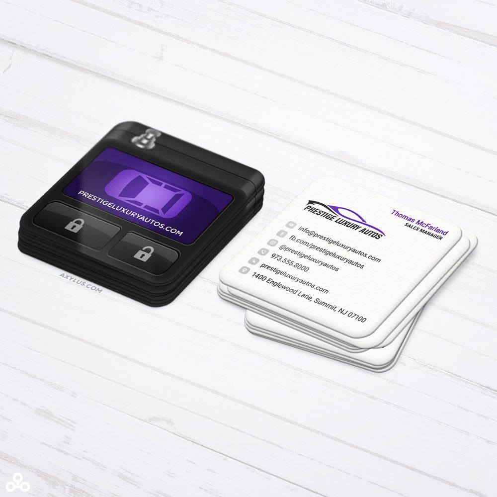 Auto Sales Business Cards - Car Remote Design - Square Die-Cut Cards