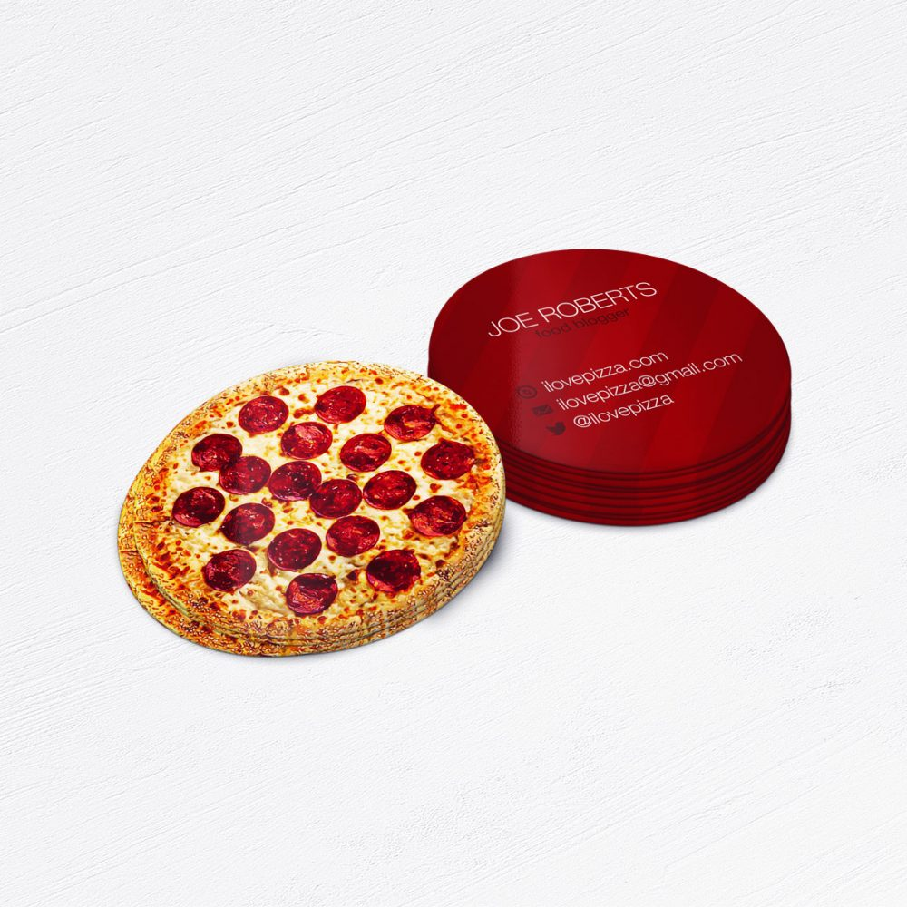 Circle Die-Cut Pizza Restaurant Business Cards