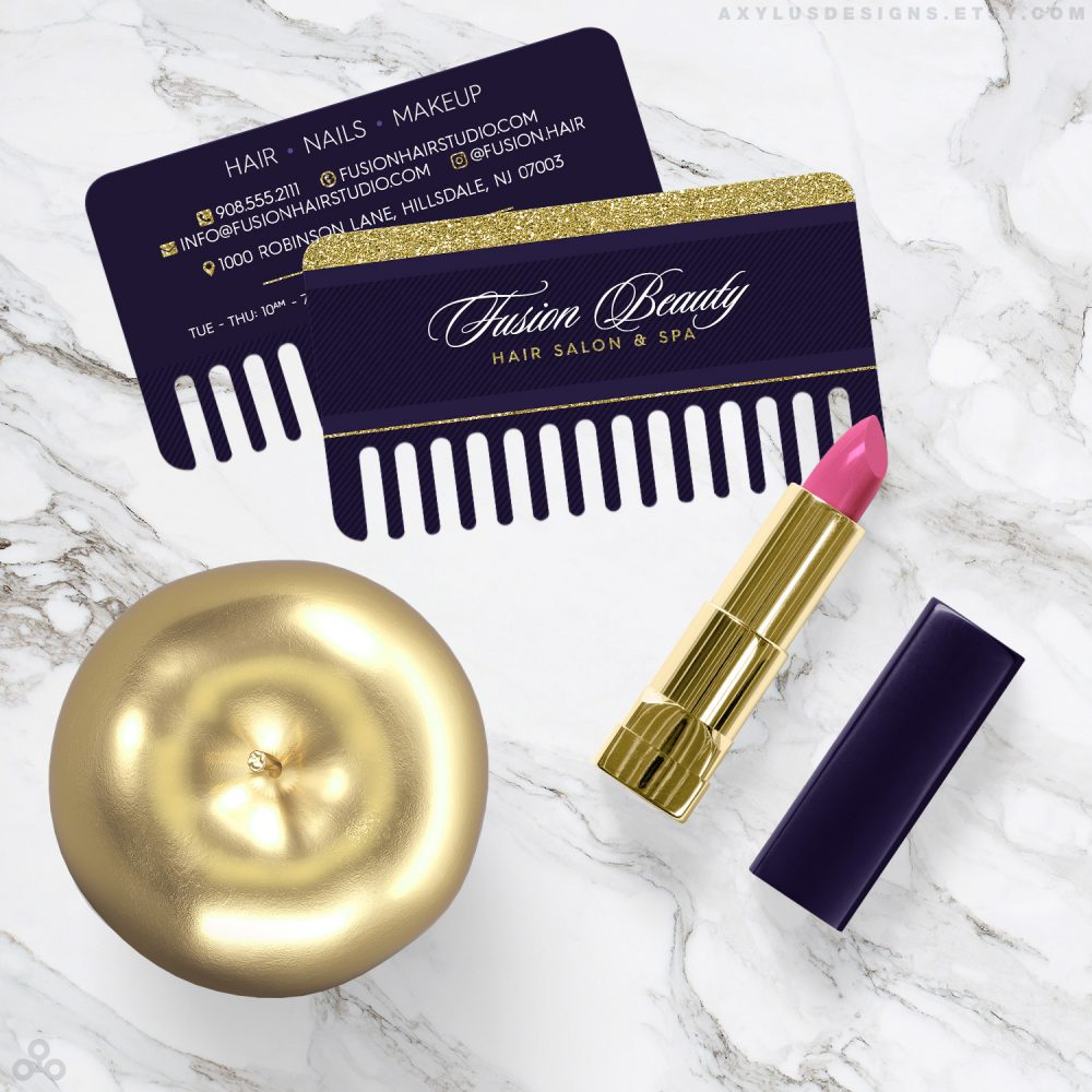 Comb Shaped Hairstylist Business Cards