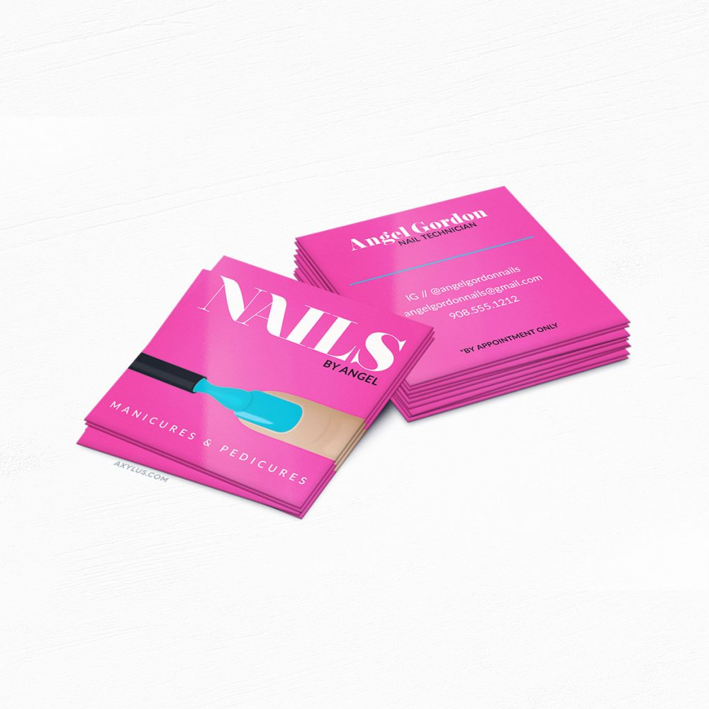 Hot Pink Nail Tech Business Cards