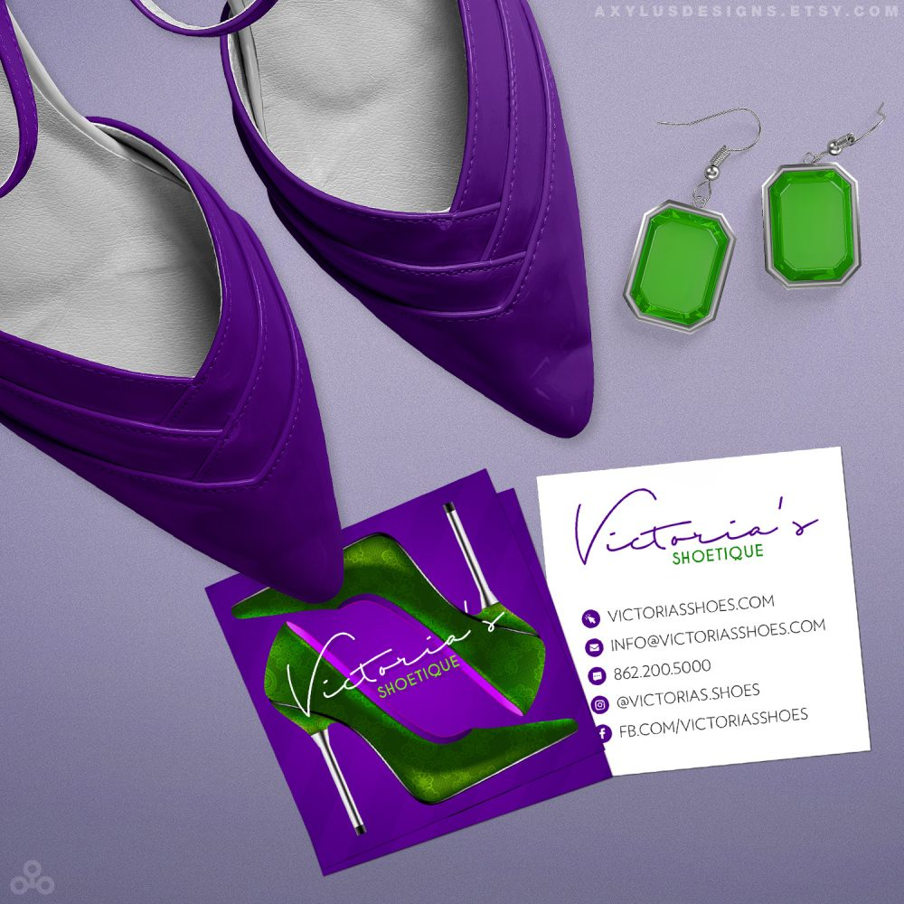 Shoe Boutique Business Cards – eCommerce Fashion Square Cards