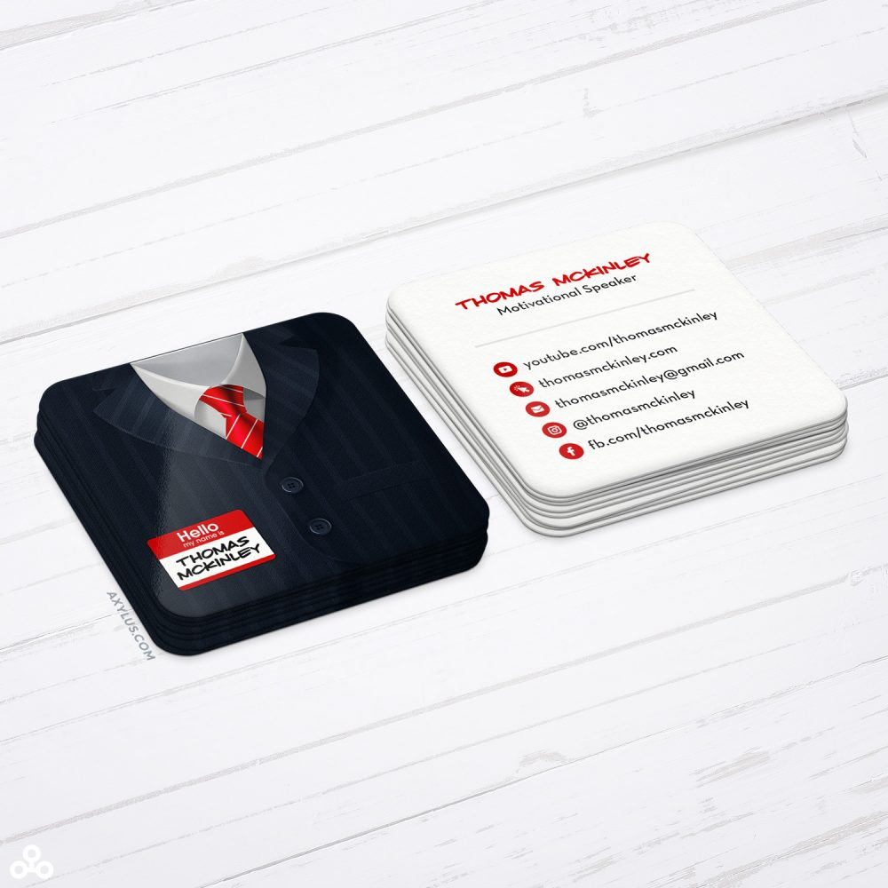 Pinstriped Suit Business Cards - Motivational Speaker or Entrepreneur Cards
