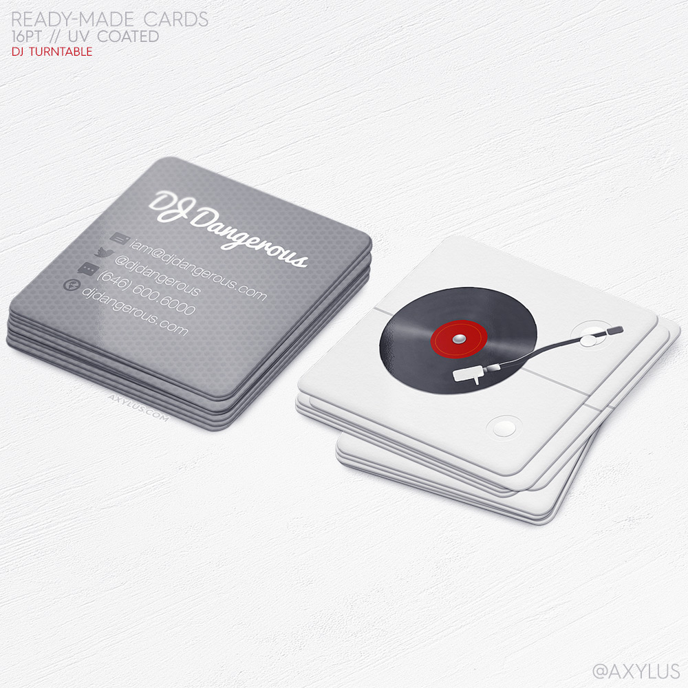 Mini Realistic Turntable DJ Business Cards