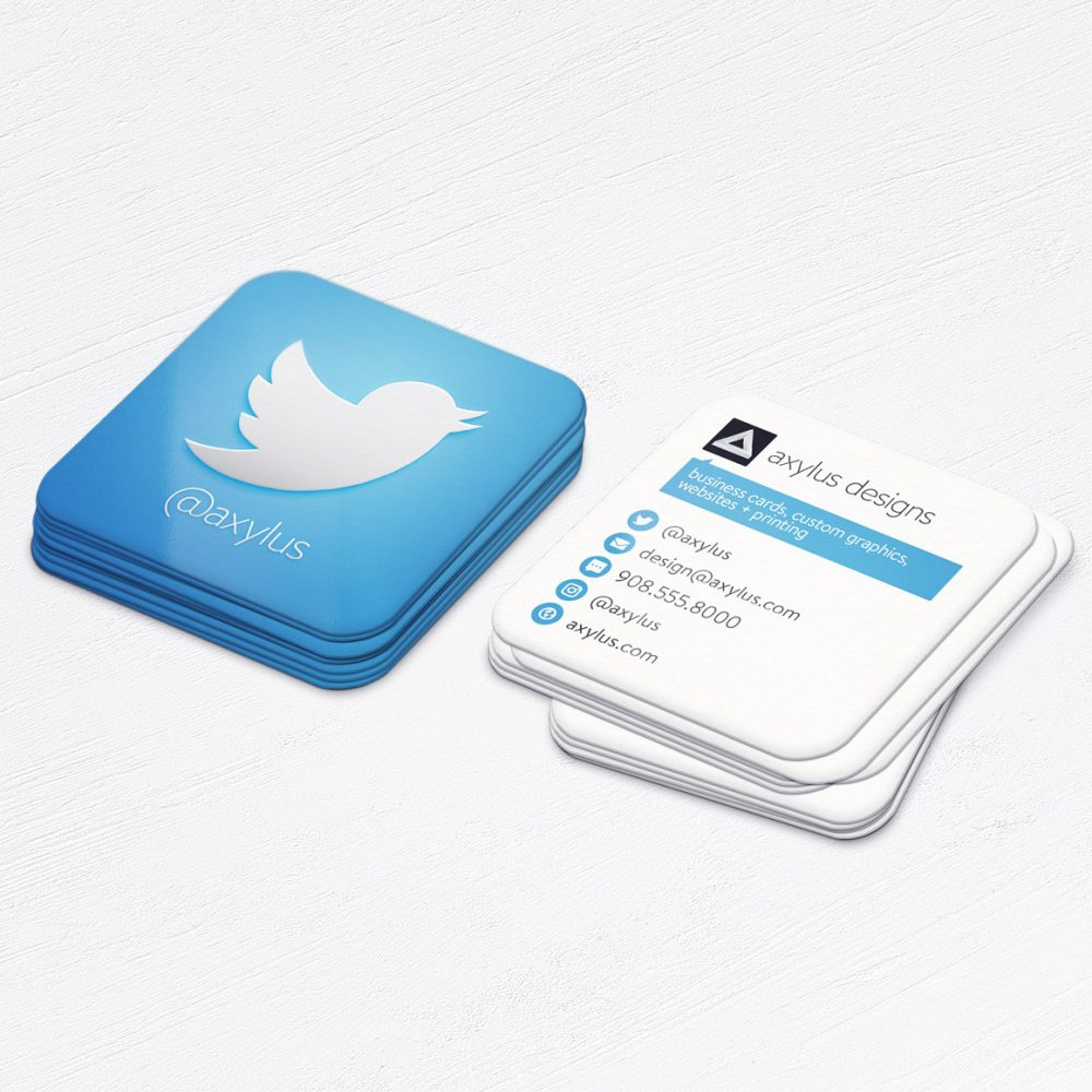 Twitter Business Cards • Social Media Square Die-Cut Cards